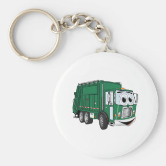 Green Smiling Garbage Truck Cartoon Basic Round Button Key Ring