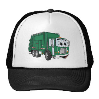 Green Smiling Garbage Truck Cartoon Cap
