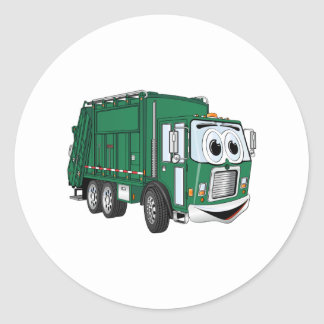 Green Smiling Garbage Truck Cartoon Classic Round Sticker