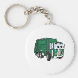 Green Smiling Garbage Truck Cartoon Basic Round Button Key Ring