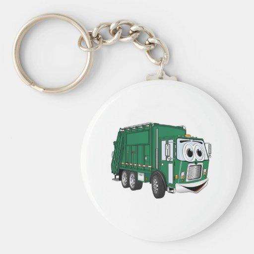 Green Smiling Garbage Truck Cartoon Keychain