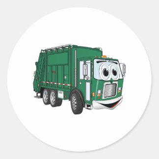 Green Smiling Garbage Truck Cartoon Round Sticker