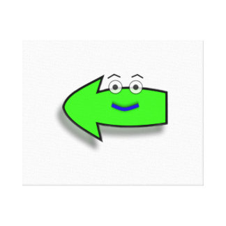 Green Smiling Left Arrow Gallery Wrapped Canvas