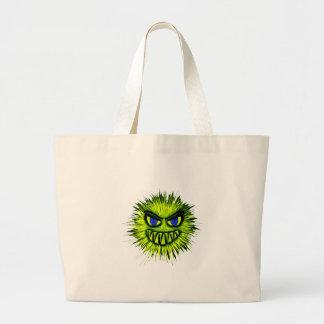 Green Smiling Monster Large Tote Bag