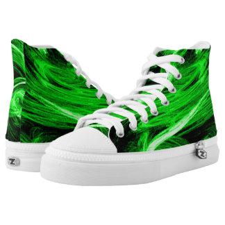 Green Smoke Fractal Printed Shoes