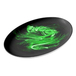 Green Smoke Porcelain Serving Platter