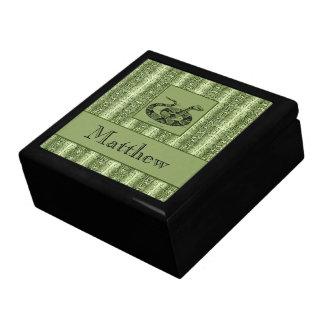 Green Snakeskin Custom Text Trinket Gift Box