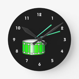 green snare graphic with sticks wallclock