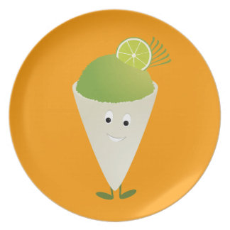 Green snow cone character dinner plates