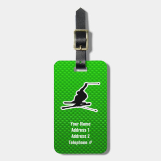 Green Snow Skiing Luggage Tag