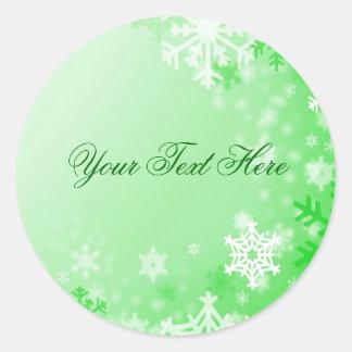 Green Snowflake Christmas Envelope Sticker/seal Round Sticker