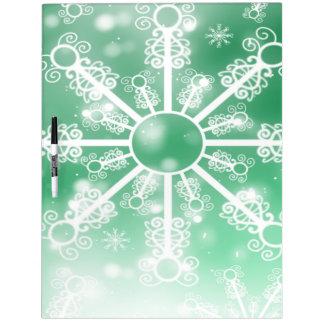 Green Snowflake Dry Erase Board