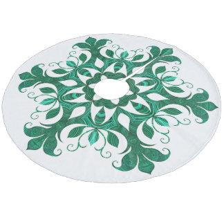 Green Snowflake Flower Pattern On White Fleece Tree Skirt