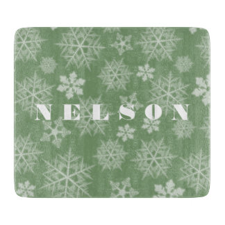 Green Snowflake Pattern Holiday Cutting Board