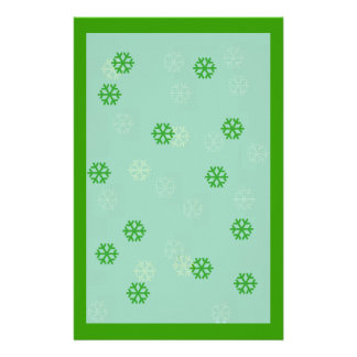 Green Snowflake Winter Stationary Stationery