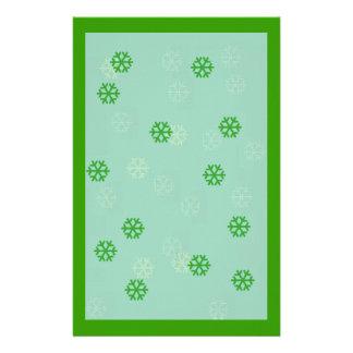 Green Snowflake Winter Stationary Stationery Design
