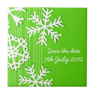 Green Snowflakes Christmas Save the date Tile