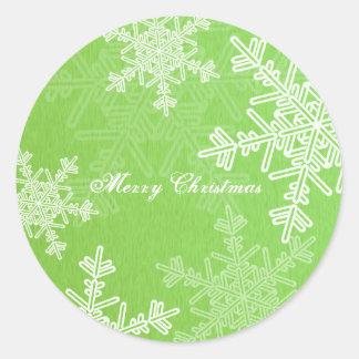 Green Snowflakes Christmas Sticker