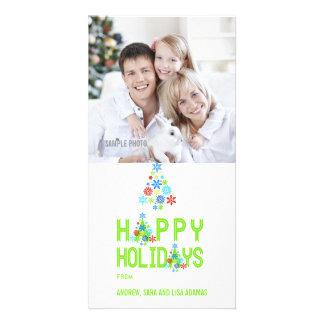 GREEN SNOWFLAKES HAPPY HOLIDAYS PHOTO CARD