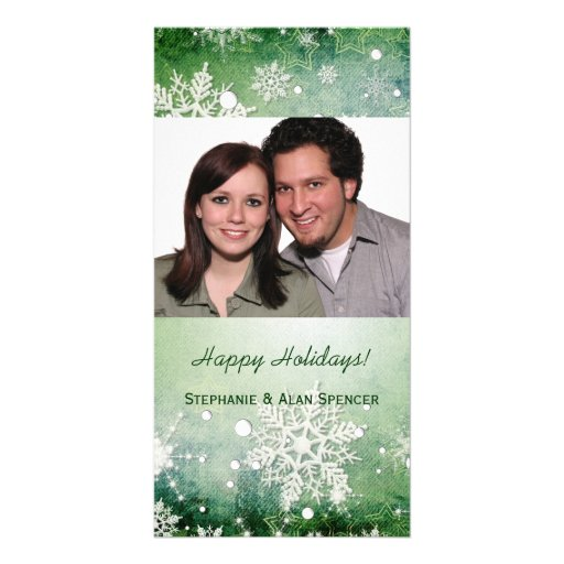 Green Snowflakes Holiday Photo Cards