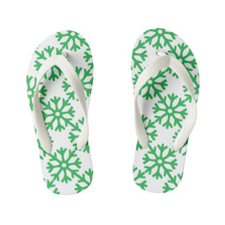 Green Snowflakes Kid's Thongs