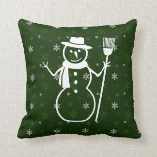 Green Snowman Throw Pillow
