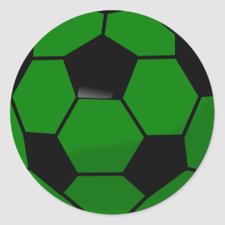 Green Soccer Ball Classic Round Sticker