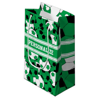 Green Soccer Ball Collage   Personalize Small Gift Bag