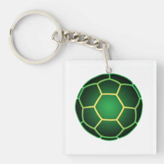 Green soccer ball Double-Sided square acrylic key ring