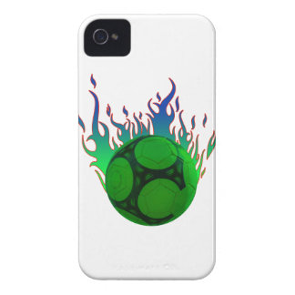 Green Soccer ball on fire. Case-Mate iPhone 4 Cases