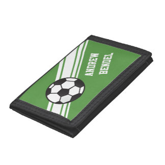 Green Soccer Sporty Stripes Boys Wallet