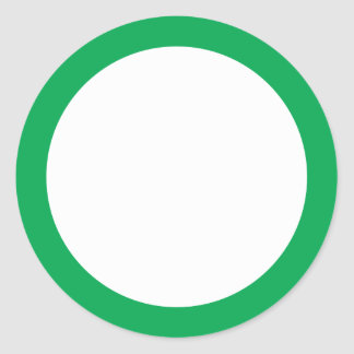 Green solid border blank round sticker