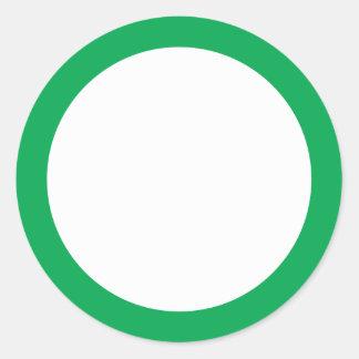 Green solid border blank round sticker