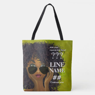 Green Sorority Black Art Tote Bag