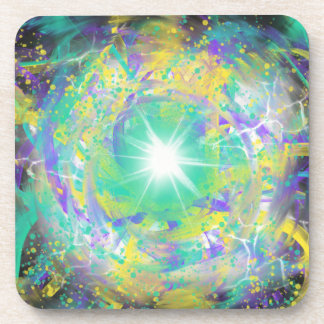 Green Space Star Abstract Art Painting Design Coaster