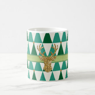 Green Sparkle Deer Christmas Mug
