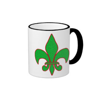 Green Sparkle Fleur de Lis Mugs