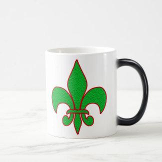 Green Sparkle Fleur de Lis Coffee Mug