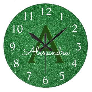 Green Sparkle Glitter Monogram Name & Initial Large Clock