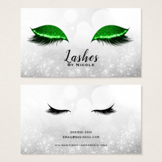 Green Sparkle Makeup Eyelashes Lashes Silver Business Card