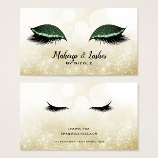 Green Sparkle Makeup Glamour Eyelashes Lashes Business Card