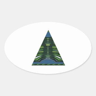 GREEN Sparkle Triangle Pyramid NVN237 NavinJOSHI Oval Sticker