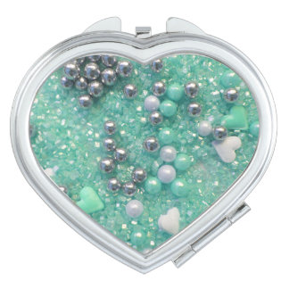 Green Sparkles and Love Hearts Vanity Mirror