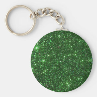 Green Sparkles Basic Round Button Key Ring