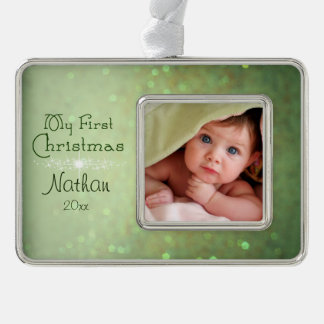 Green Sparkly Baby's First Christmas Silver Plated Framed Ornament