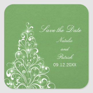 Green Sparkly Holiday Tree Save the Date Stickers