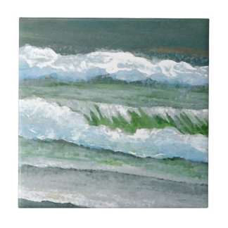 Green Sparkly Waves Ocean Sea Beach Decor Gifts Ceramic Tile