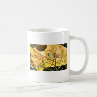Green speckled yellow leaf in grass coffee mugs