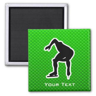 Green Speed Skater Fridge Magnet