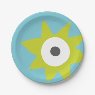 Green Spiky Monster Party Paper Plate